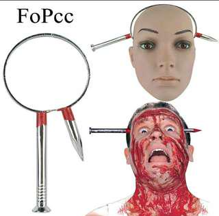 [ High Positive Rating ] Halloween Decoration Nail Through Head Scary Bloody Prank Fake Toy Tricky Magic Props April Fools' Day Party Supplies