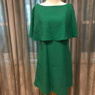 GREEN CAPE DRESS