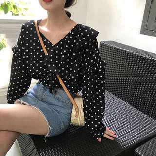 Korean Polka dot Long sleeve Top