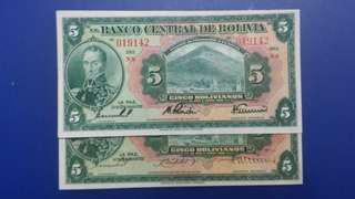 2張吾同手簽名 玻利維亞1928年2張手簽名紙幣 難得全新直版