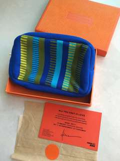 Habour City 海港城 全新藍色編織化妝袋 New Blue knit make up clutch bag