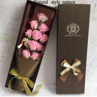 11 Pink Roses Soap Flower Bouquet (in nice shiny wrapper & gold netting)