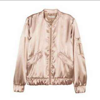 H&m satin bomber jacket rose gold colour
