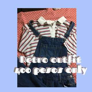 Retro Outfit Striped Collared Shirt & Maong Jumper Pants