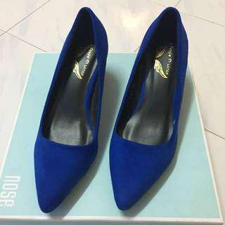 Royal blue suede pumps