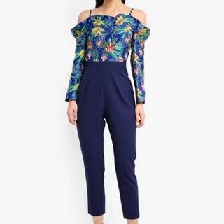 Zalora Cold Shoulder Cigarette Jumpsuit