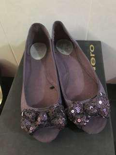 Zara Purple sequined peep toe flats