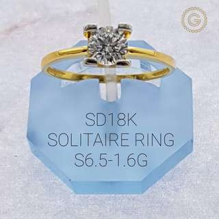 Saudi Gold 18K Solitaire Ring 1.6G