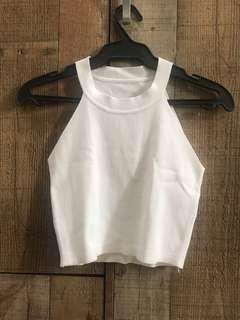 White Cropped Halter Top