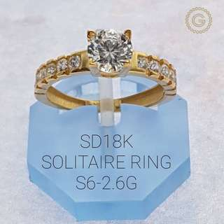 Saudi Gold 18K Solitaire Ring 2.6G