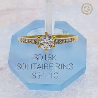 Saudi Gold 18K Solitaire Ring 1.1G