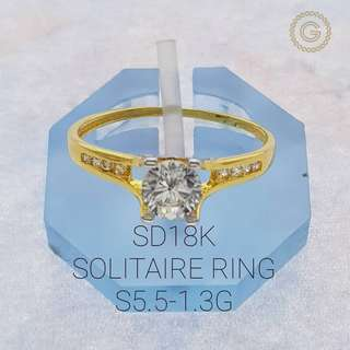 Saudi Gold 18K Solitaire Ring 1.3G