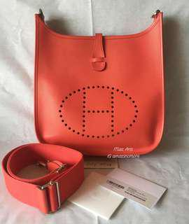 Authentic Hermes Evelyne 3 PM Epsom leather in Rose Jaipur color