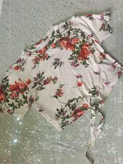 Floral Tie Knot Crop Top