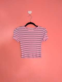 F21 Pink stripes crop top