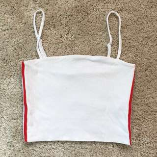 White Crop Top with Red Stripes