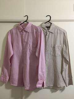 Uniqlo Premium Linen Men's Long Sleeve Shirts