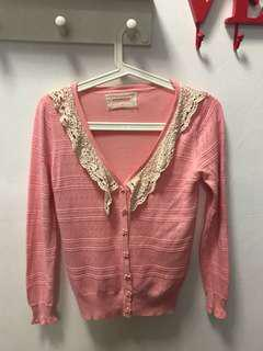 Preloved pink knitted cardigan