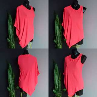 Women's size 8 (8-10) 'TATTOO' Stunning coral one sleeve Irregular Top - AS NEW