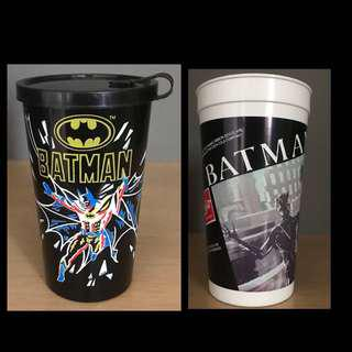 TWO Batman Collectible Cups - DC Comics - Burger King - 1989 and Coca Cola - 1992