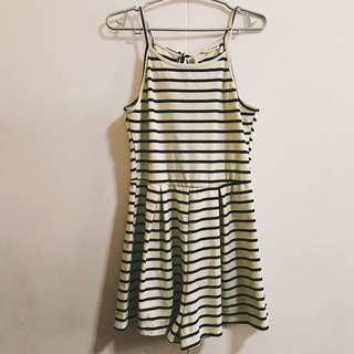 Striped Tie-up halter romper