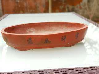 Medium terracotta bonsai flower pot