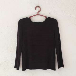 Forever 21 Open Back Striped 3/4 Sleeve Top - Maroon and Black