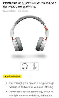 RRP $119 Plantronic BackBeat 505 Wireless Over Ear Headphones