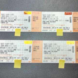 廉讓 正台 三連位 8月8日 第8行 許冠傑 譚詠麟 SaM & TaM 演唱會 $880門票