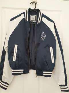 Navy blue/white varsity jacket