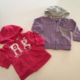 Two for $45! Baby girl zippers hoodies 9m