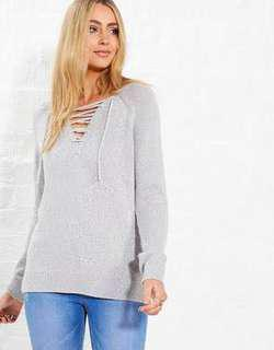 JayJays Grey Lace Up Knitted Sweater