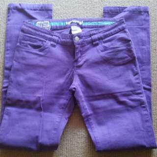 Purple straight leg stretch jeans