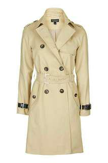 Topshop Military Trench Coat in Natural