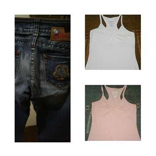 Take all!! Free shipping!Authentic tribal jeans and 2 garage top