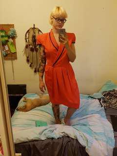 Vintage orange shoulder pad dress