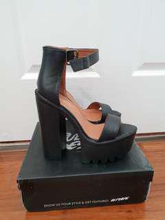 Public desire chunky black heels