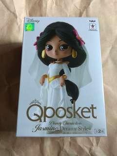 全新未開 景品 行版  Banpresto Qposket 阿拉丁 茉莉公主Jasmine 迪士尼 Disney 婚紗 白色 B色