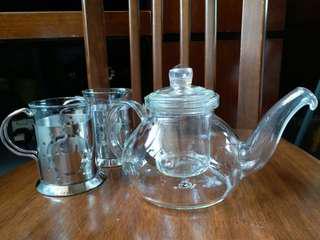 玻璃花茶壺~連不銹鋼座玻璃杯2隻
