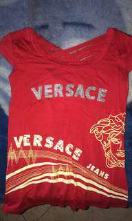 Women's size small Versace red cotton stretch shirt