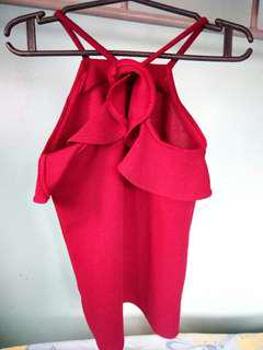 Red ruffled halter top