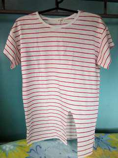 White shirt with red stripes.