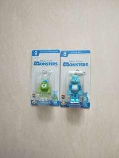 Medicom toy disney 迪士尼 Monsters 怪獸大學 怪獸公司 bearbrick 大眼仔 毛毛 一番賞 8 & 9 set 100% be@rbrick