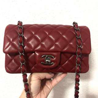 RESERVED Authentic Chanel Wine Red Lambskin Puffy Mini in Like-New Condition and FULL SET