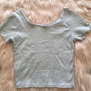 Grey Ribbed Top