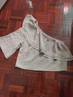 Beige toga crop top