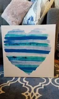 Blue heart printed wall canvas