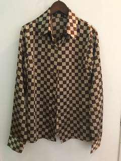 🚚 絲質格子襯衫