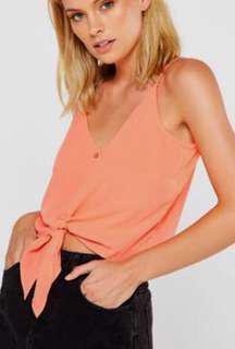 Cotton On TankTie Top Peach Orange M Medium
