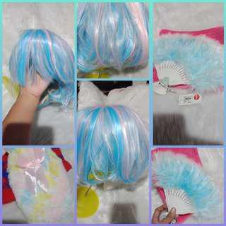 Cute hair wig/fan and gloves